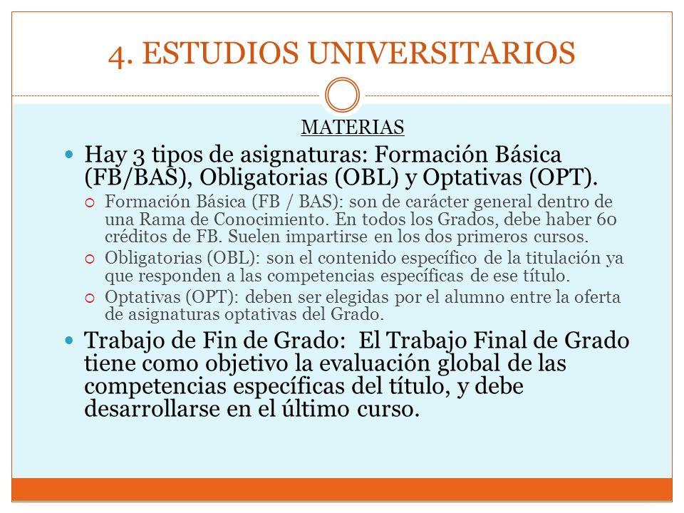 4. ESTUDIOS UNIVERSITARIOS MATERIAS Hay 3 tipos de asignaturas: Formación Básica (FB/BAS), Obligatorias (OBL) y Optativas (OPT). Formación Básica (FB