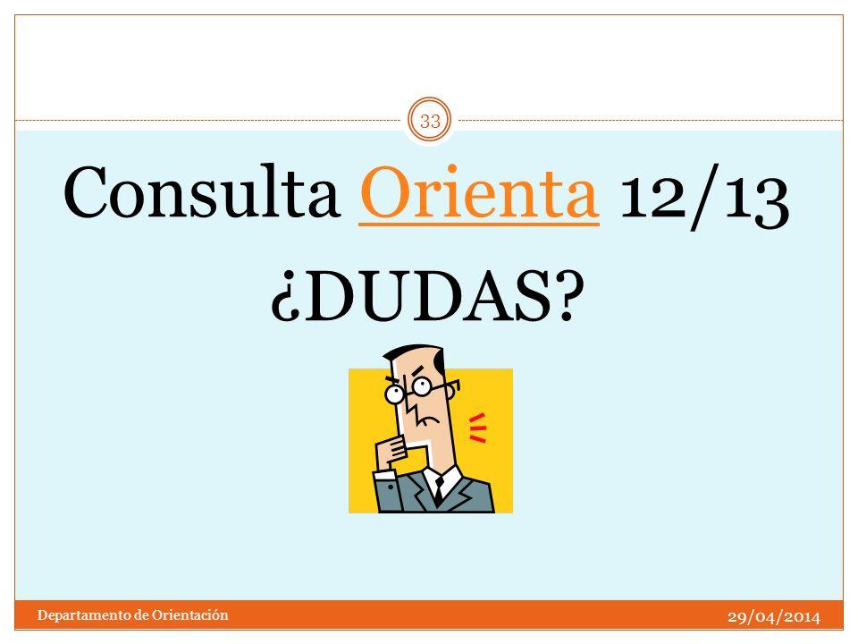 Consulta Orienta 12/13Orienta ¿DUDAS? 29/04/2014 33 Departamento de Orientación