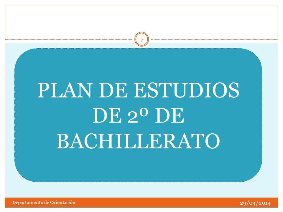 29/04/2014 Departamento de Orientación 7 PLAN DE ESTUDIOS DE 2º DE BACHILLERATO
