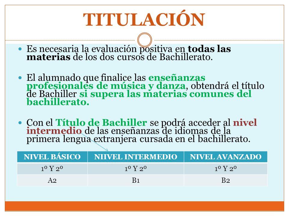TITULACIÓN Es necesaria la evaluación positiva en todas las materias de los dos cursos de Bachillerato. El alumnado que finalice las enseñanzas profes