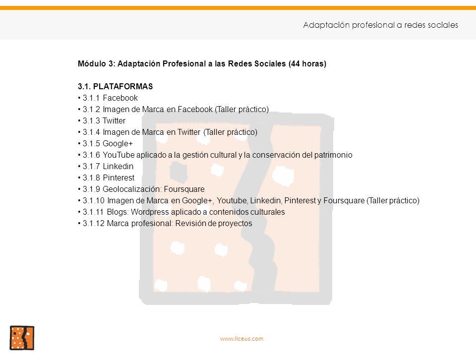 Módulo 3: Adaptación Profesional a las Redes Sociales (44 horas) 3.1. PLATAFORMAS 3.1.1 Facebook 3.1.2 Imagen de Marca en Facebook (Taller práctico) 3