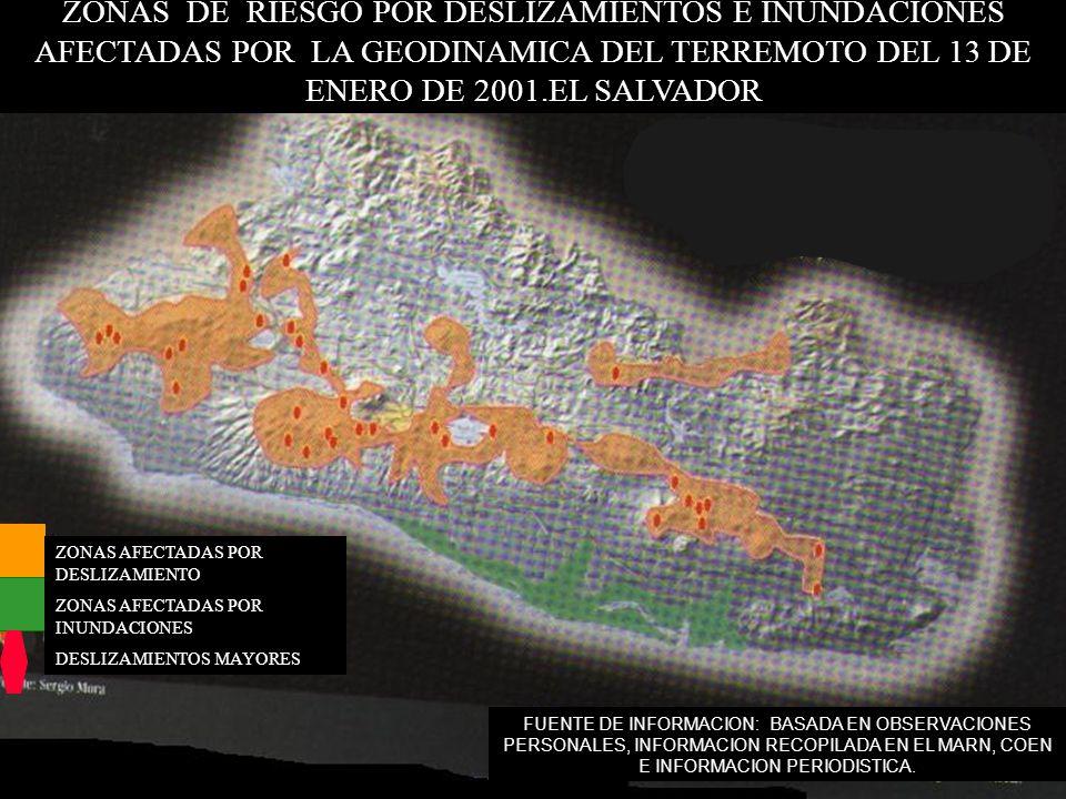 ZONAS DE RIESGO POR DESLIZAMIENTOS E INUNDACIONES AFECTADAS POR LA GEODINAMICA DEL TERREMOTO DEL 13 DE ENERO DE 2001.EL SALVADOR FUENTE DE INFORMACION