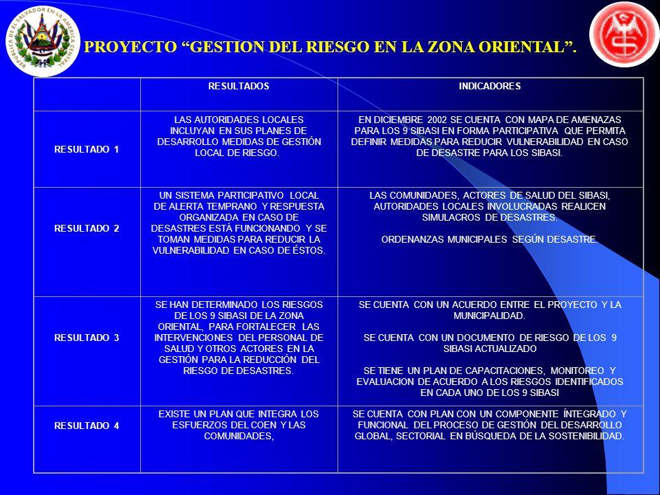 RESULTADOSINDICADORES RESULTADO 1 LAS AUTORIDADES LOCALES INCLUYAN EN SUS PLANES DE DESARROLLO MEDIDAS DE GESTIÓN LOCAL DE RIESGO. EN DICIEMBRE 2002 S