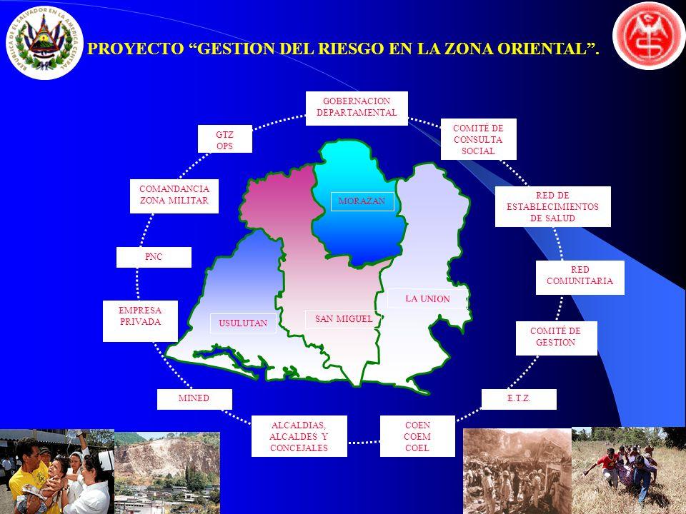 GTZ OPS COMANDANCIA ZONA MILITAR GOBERNACION DEPARTAMENTAL COMITÉ DE GESTION COMITÉ DE CONSULTA SOCIAL RED DE ESTABLECIMIENTOS DE SALUD RED COMUNITARI