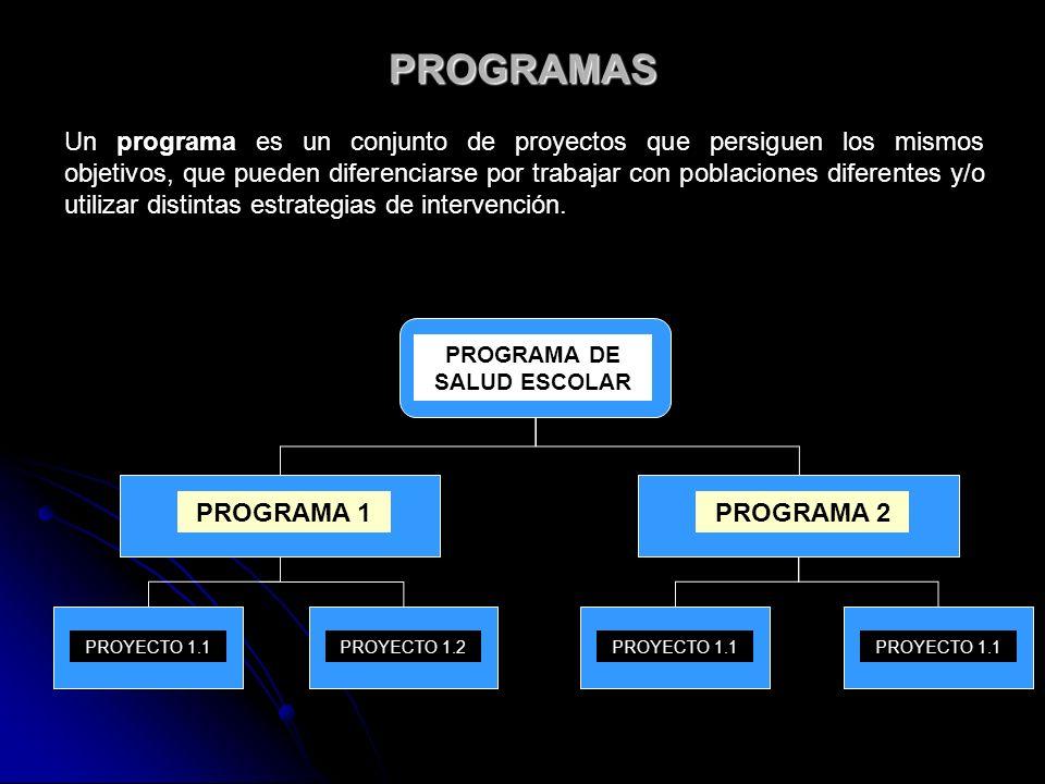PROGRAMAS Un programa es un conjunto de proyectos que persiguen los mismos objetivos, que pueden diferenciarse por trabajar con poblaciones diferentes