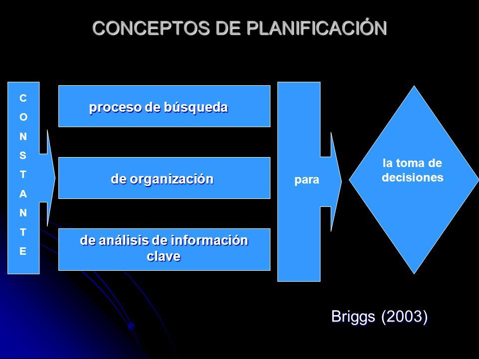 CONCEPTOS DE PLANIFICACIÓN proceso de búsqueda de organización de análisis de información clave CONSTANTECONSTANTE para la toma de decisiones Briggs (