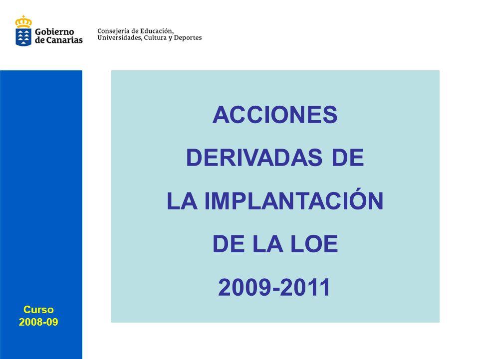 Curso 2008-09 Curso 2008-09 ACCIONES DERIVADAS DE LA IMPLANTACIÓN DE LA LOE 2009-2011