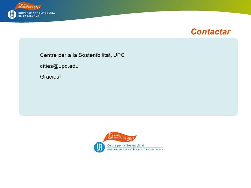 Contactar Centre per a la Sostenibilitat, UPC cities@upc.edu Gràcies!