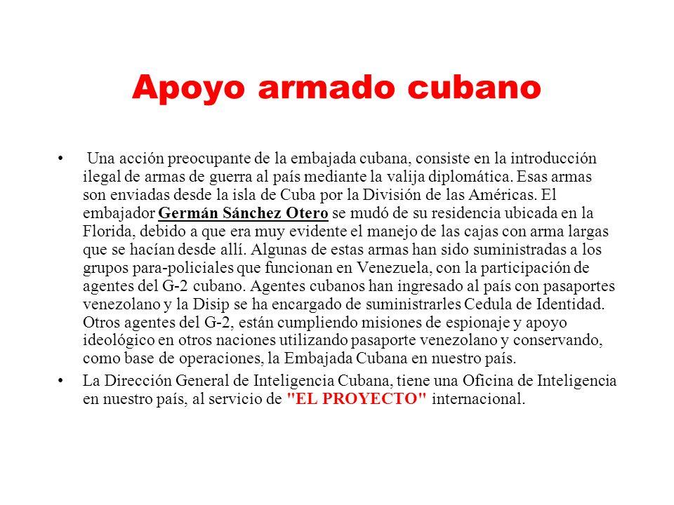 Apoyo armado cubano Una acción preocupante de la embajada cubana, consiste en la introducción ilegal de armas de guerra al país mediante la valija diplomática.