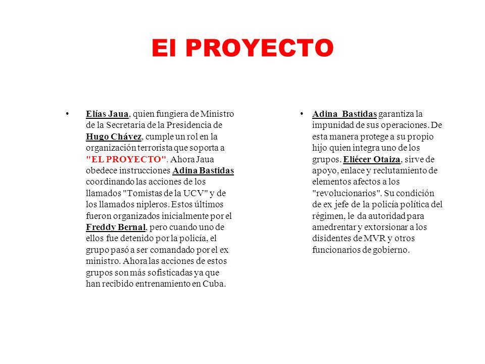 El PROYECTO Elías Jaua, quien fungiera de Ministro de la Secretaria de la Presidencia de Hugo Chávez, cumple un rol en la organización terrorista que soporta a EL PROYECTO .
