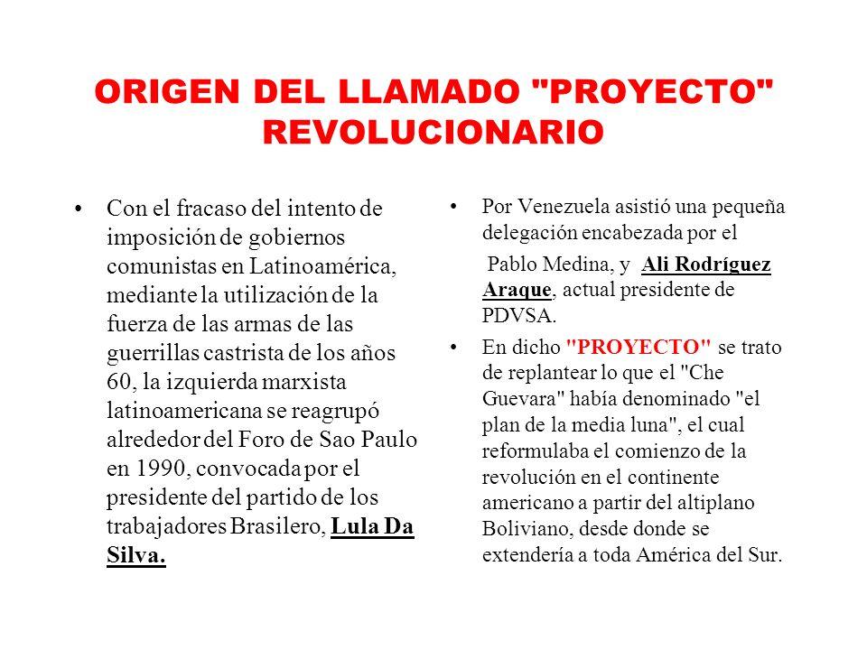 ORIGEN DEL LLAMADO PROYECTO REVOLUCIONARIO Con el fracaso del intento de imposición de gobiernos comunistas en Latinoamérica, mediante la utilización de la fuerza de las armas de las guerrillas castrista de los años 60, la izquierda marxista latinoamericana se reagrupó alrededor del Foro de Sao Paulo en 1990, convocada por el presidente del partido de los trabajadores Brasilero, Lula Da Silva.