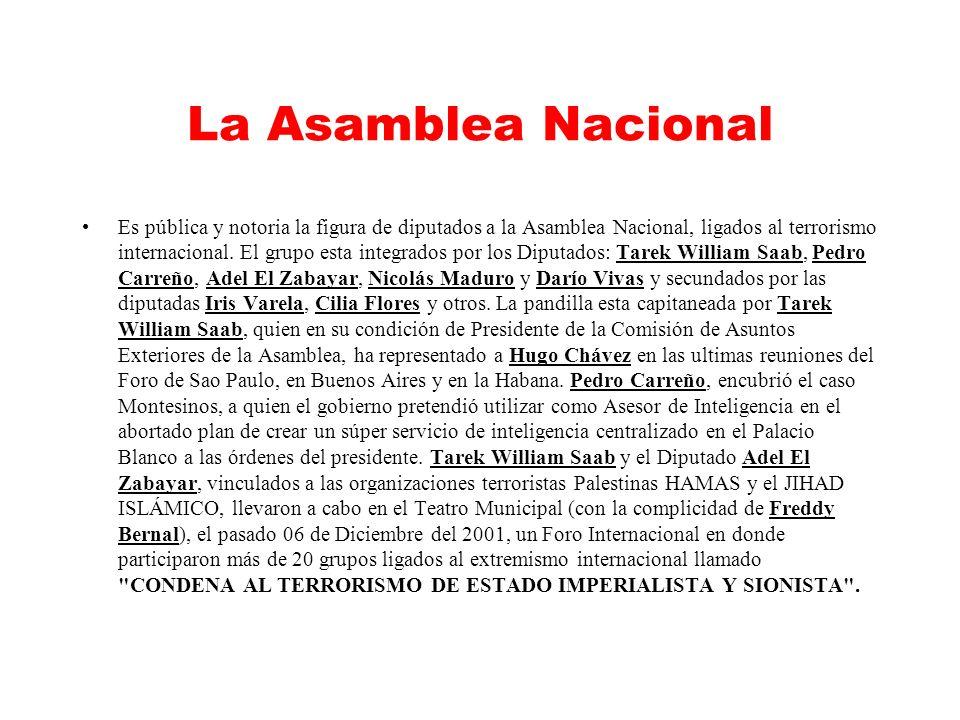 La Asamblea Nacional Es pública y notoria la figura de diputados a la Asamblea Nacional, ligados al terrorismo internacional.