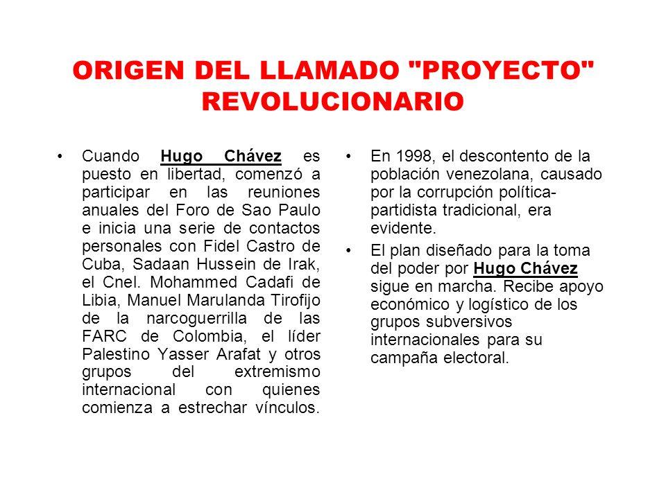 ORIGEN DEL LLAMADO PROYECTO REVOLUCIONARIO Cuando Hugo Chávez es puesto en libertad, comenzó a participar en las reuniones anuales del Foro de Sao Paulo e inicia una serie de contactos personales con Fidel Castro de Cuba, Sadaan Hussein de Irak, el Cnel.
