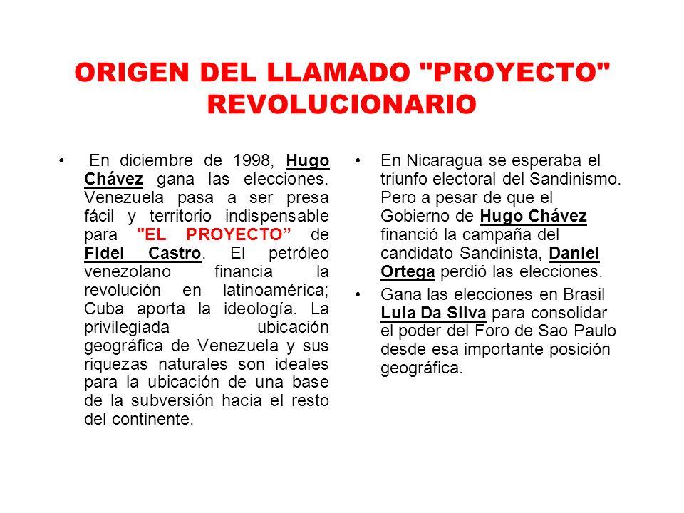 ORIGEN DEL LLAMADO PROYECTO REVOLUCIONARIO En diciembre de 1998, Hugo Chávez gana las elecciones.