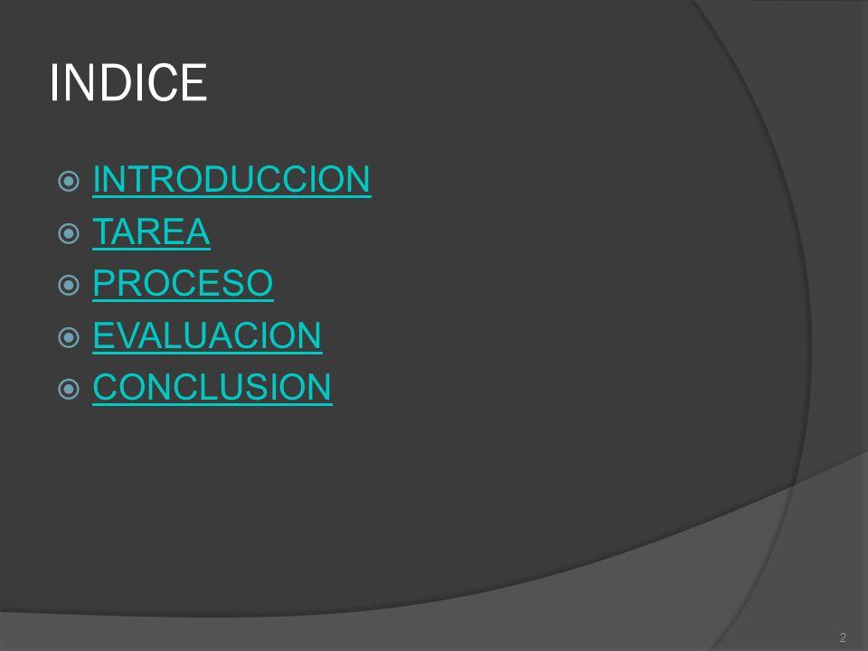 INDICE INTRODUCCION TAREA PROCESO EVALUACION CONCLUSION 2