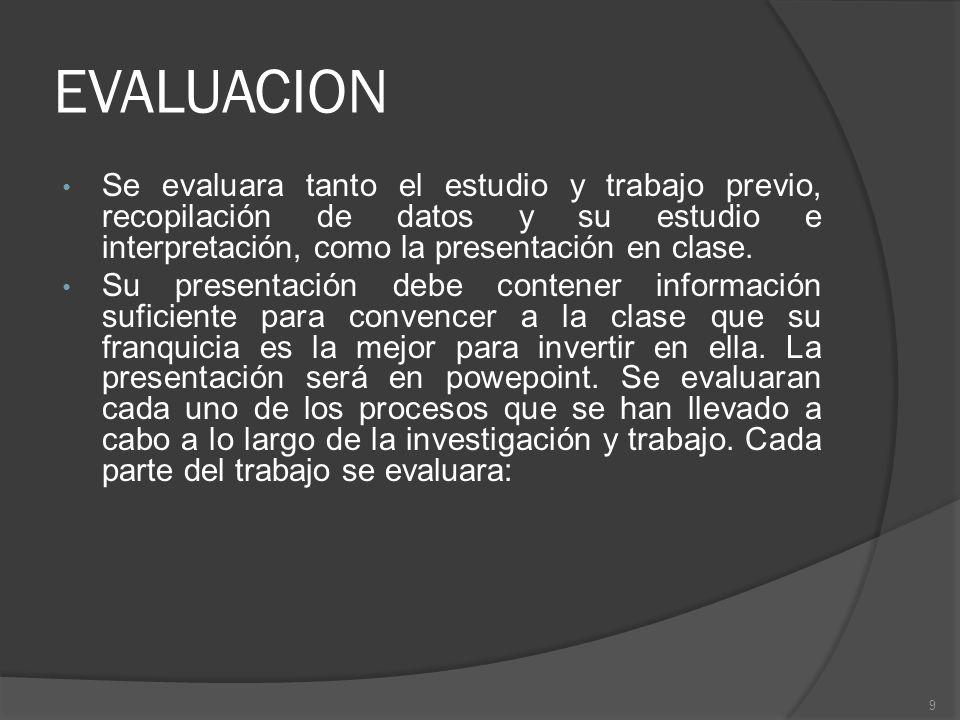 EVALUACION Se evaluara tanto el estudio y trabajo previo, recopilación de datos y su estudio e interpretación, como la presentación en clase. Su prese