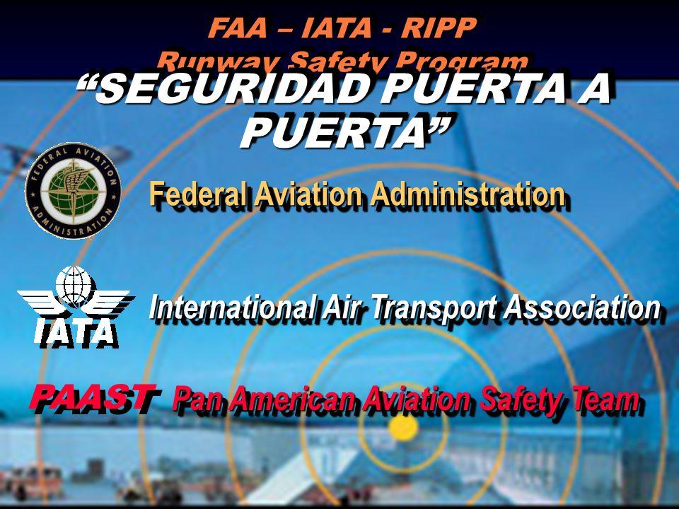 FAA – IATA - RIPP Runway Safety Program SEGURIDAD PUERTA A PUERTA International Air Transport Association Federal Aviation Administration PAAST Pan Am