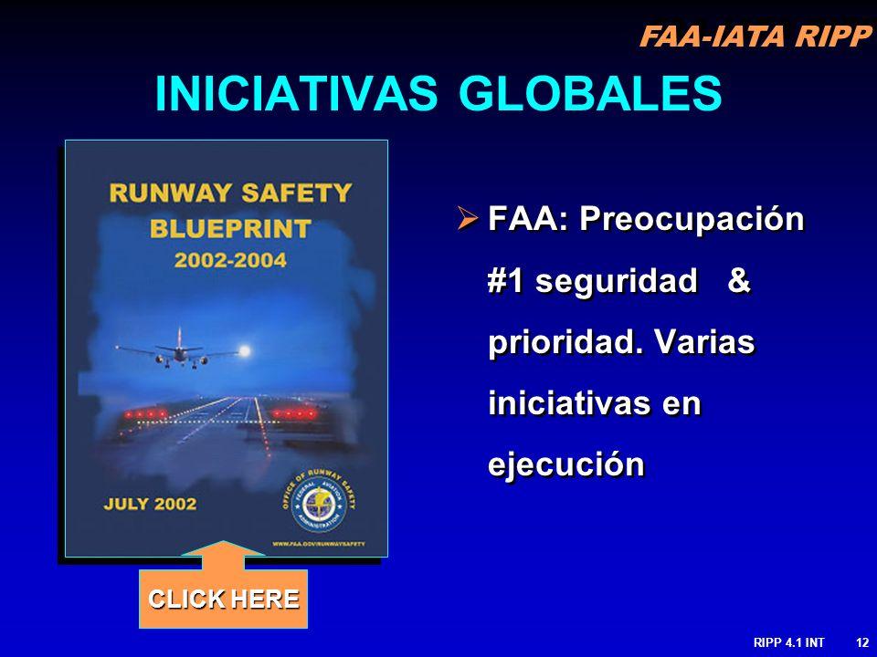 FAA-IATA RIPP RIPP 4.1 INT12 FAA: Preocupación #1 seguridad & prioridad. Varias iniciativas en ejecución INICIATIVAS GLOBALES CLICK HERE