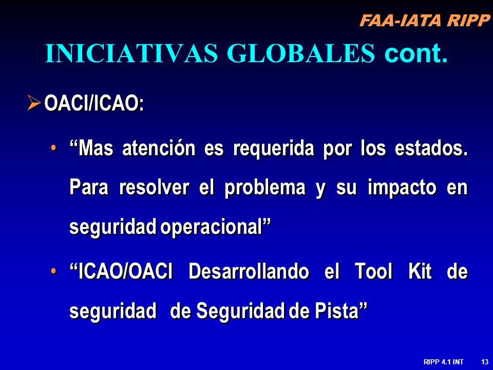 FAA-IATA RIPP RIPP 4.1 INT13 OACI/ICAO: Mas atención es requerida por los estados. Para resolver el problema y su impacto en seguridad operacional ICA