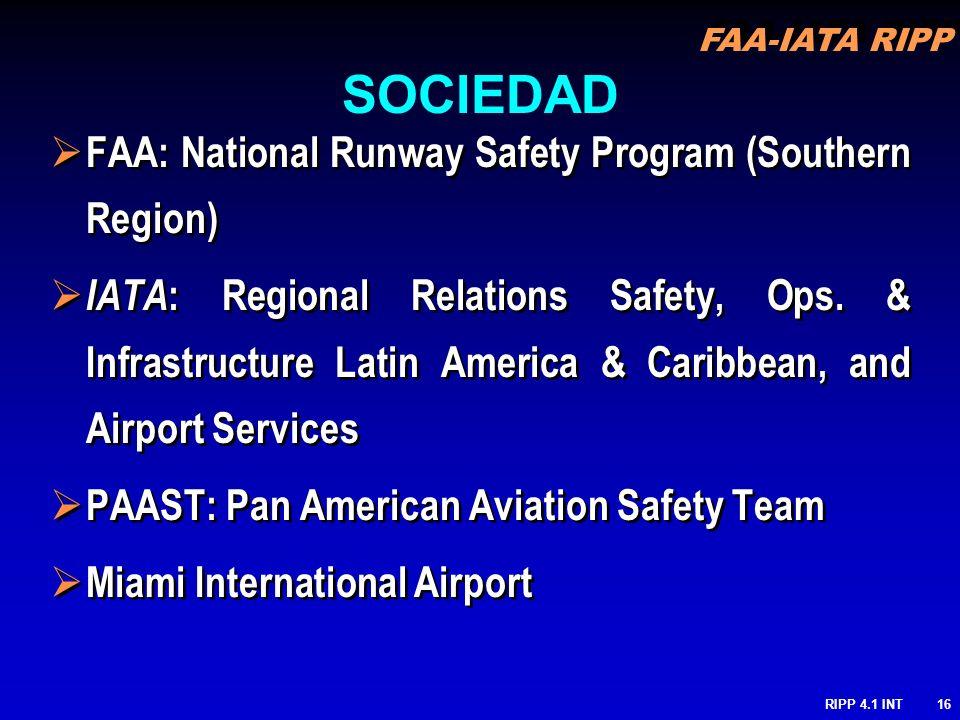 FAA-IATA RIPP RIPP 4.1 INT16 FAA: National Runway Safety Program (Southern Region) IATA : Regional Relations Safety, Ops. & Infrastructure Latin Ameri