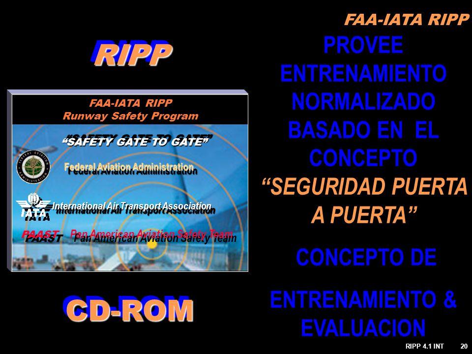 FAA-IATA RIPP RIPP 4.1 INT20 PROVEE ENTRENAMIENTO NORMALIZADO BASADO EN EL CONCEPTO SEGURIDAD PUERTA A PUERTA CONCEPTO DE ENTRENAMIENTO & EVALUACION R