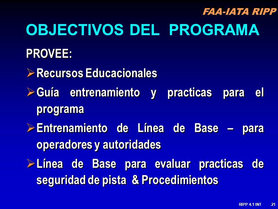 FAA-IATA RIPP RIPP 4.1 INT21 PROVEE: Recursos Educacionales Guía entrenamiento y practicas para el programa Entrenamiento de Línea de Base – para oper