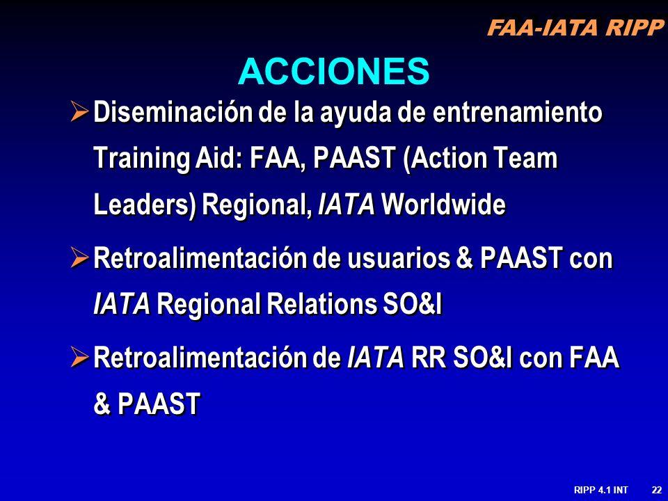 FAA-IATA RIPP RIPP 4.1 INT22 Diseminación de la ayuda de entrenamiento Training Aid: FAA, PAAST (Action Team Leaders) Regional, IATA Worldwide Retroal
