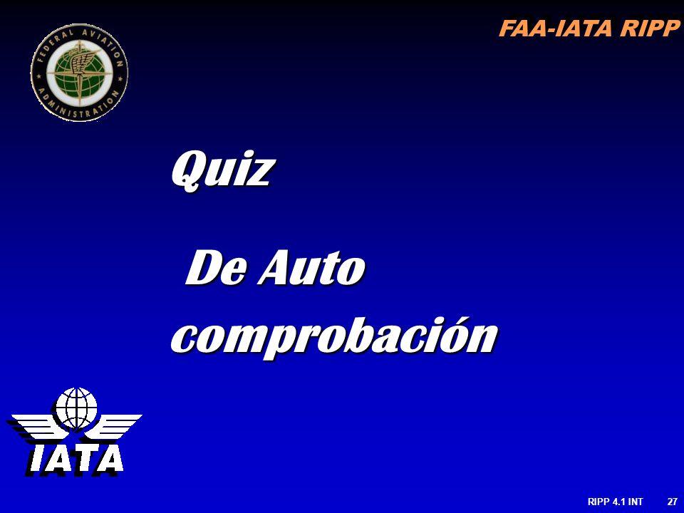 RIPP 4.1 INT27 Quiz De Auto comprobación De Auto comprobación