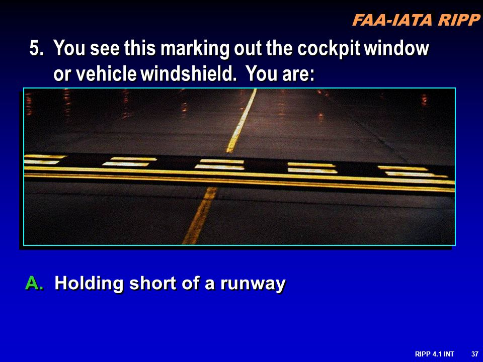 FAA-IATA RIPP RIPP 4.1 INT37 A. Holding short of a runway 5. You see this marking out the cockpit window or vehicle windshield. You are: