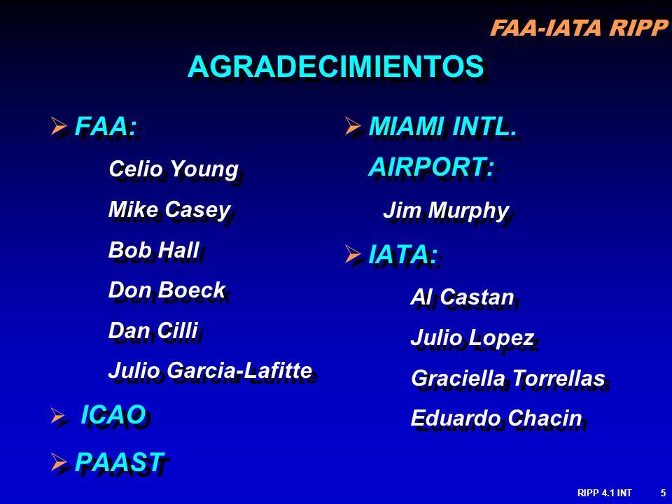 FAA-IATA RIPP RIPP 4.1 INT5 FAA: Celio Young Mike Casey Bob Hall Don Boeck Dan Cilli Julio Garcia-Lafitte ICAO PAAST FAA: Celio Young Mike Casey Bob H
