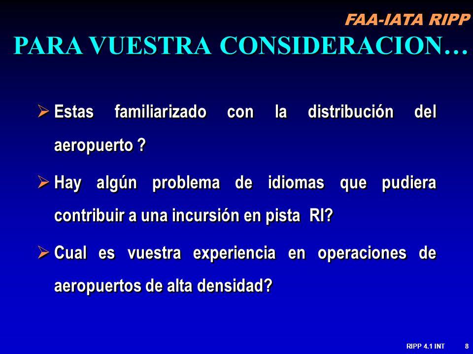 FAA-IATA RIPP RIPP 4.1 INT8 Estas familiarizado con la distribución del aeropuerto ? Hay algún problema de idiomas que pudiera contribuir a una incurs