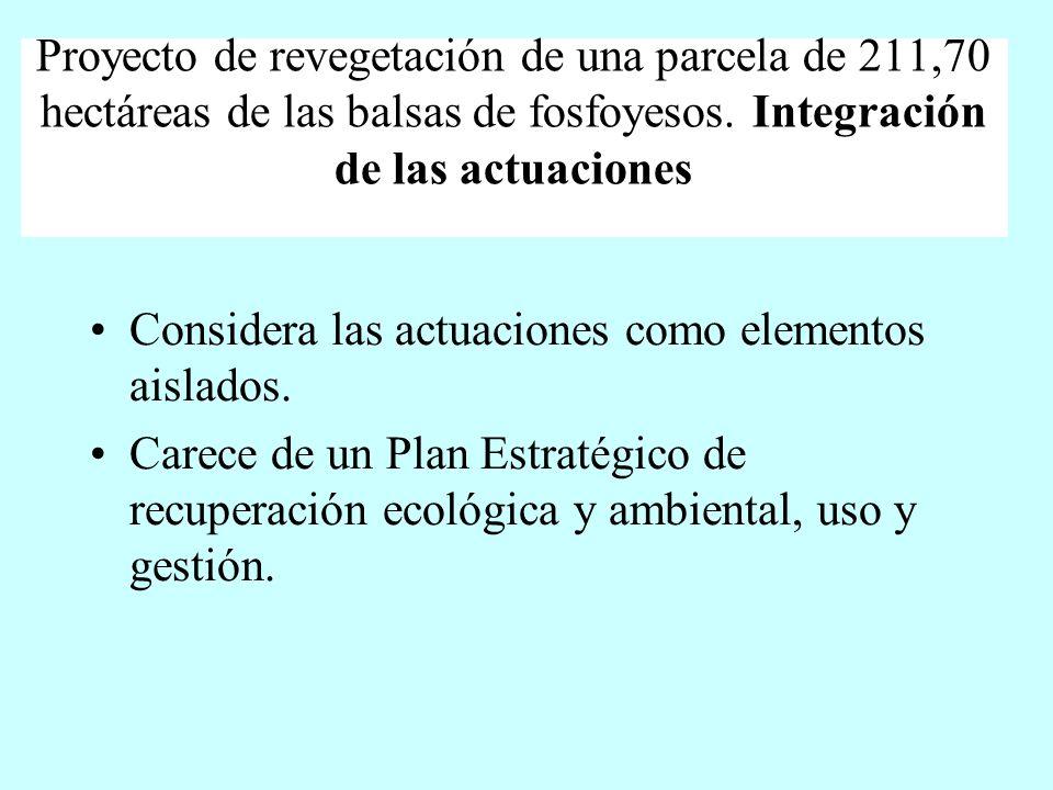 Proyecto de revegetación de una parcela de 211,70 hectáreas de las balsas de fosfoyesos. Integración de las actuaciones Considera las actuaciones como