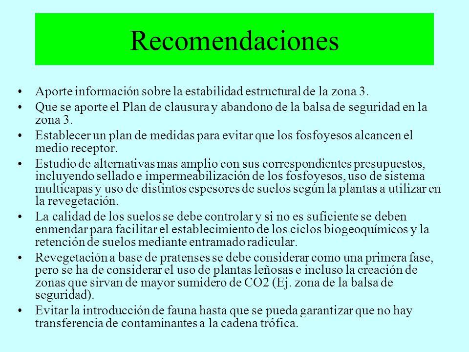 Recomendaciones Aporte información sobre la estabilidad estructural de la zona 3. Que se aporte el Plan de clausura y abandono de la balsa de segurida
