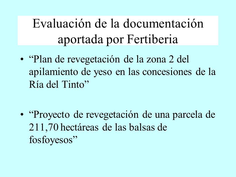 Evaluación de la documentación aportada por Fertiberia Plan de revegetación de la zona 2 del apilamiento de yeso en las concesiones de la Ría del Tint