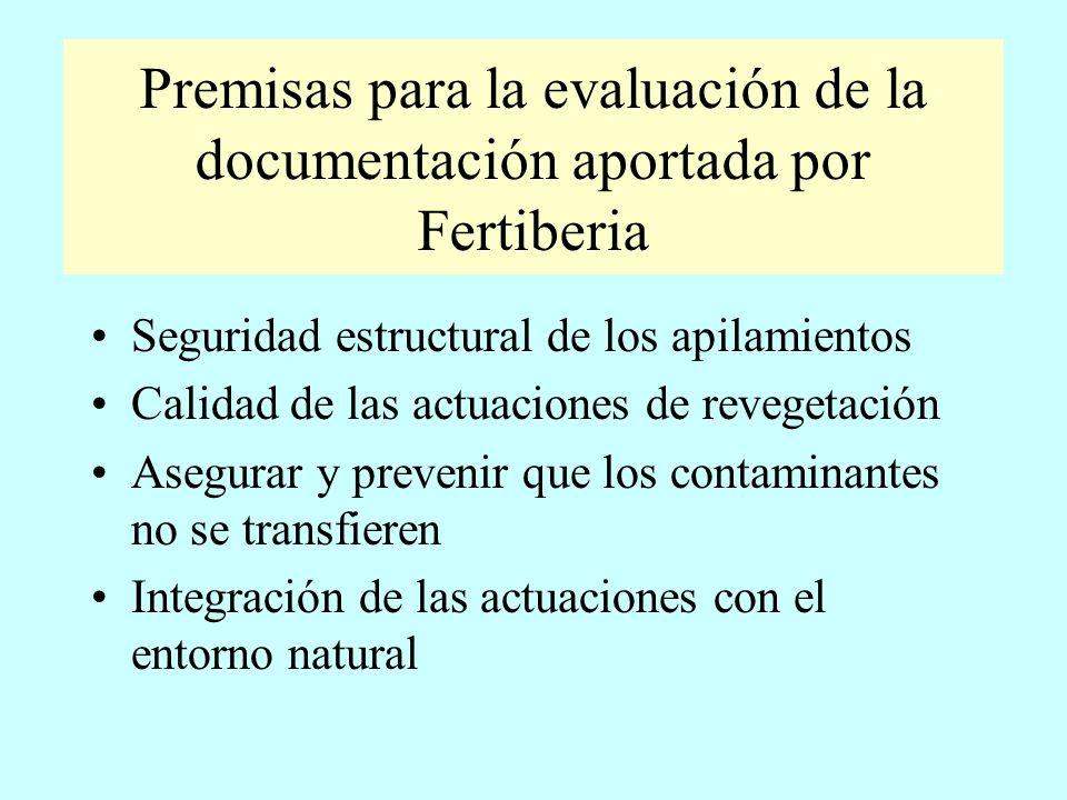 Premisas para la evaluación de la documentación aportada por Fertiberia Seguridad estructural de los apilamientos Calidad de las actuaciones de revege