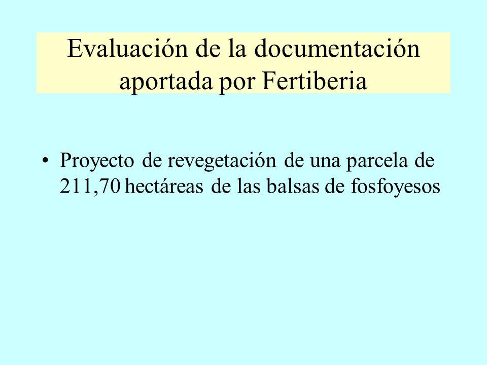 Evaluación de la documentación aportada por Fertiberia Proyecto de revegetación de una parcela de 211,70 hectáreas de las balsas de fosfoyesos