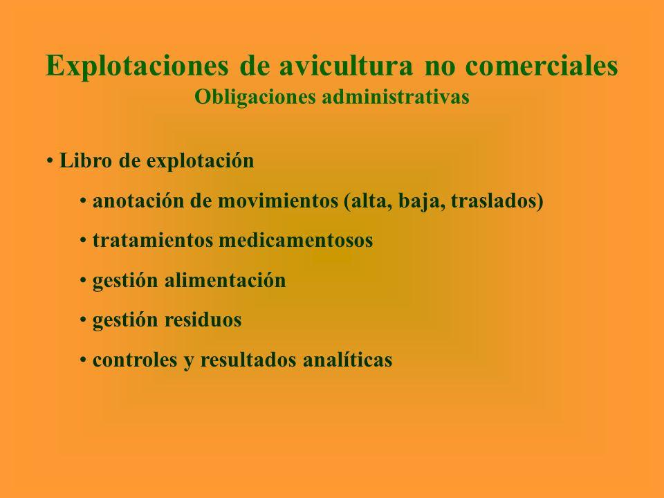 Explotaciones de avicultura no comerciales Obligaciones administrativas Libro de explotación anotación de movimientos (alta, baja, traslados) tratamie