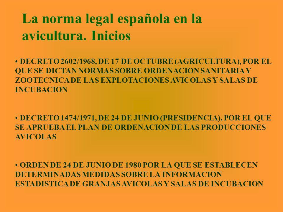La norma legal española en la avicultura. Inicios DECRETO 2602/1968, DE 17 DE OCTUBRE (AGRICULTURA), POR EL QUE SE DICTAN NORMAS SOBRE ORDENACION SANI