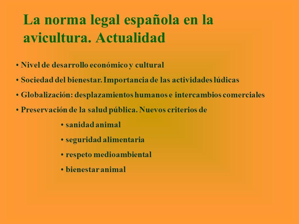 La norma legal española en la avicultura. Actualidad Nivel de desarrollo económico y cultural Sociedad del bienestar. Importancia de las actividades l