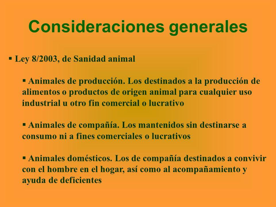 Consideraciones generales Ley 8/2003, de Sanidad animal Animales de producción. Los destinados a la producción de alimentos o productos de origen anim