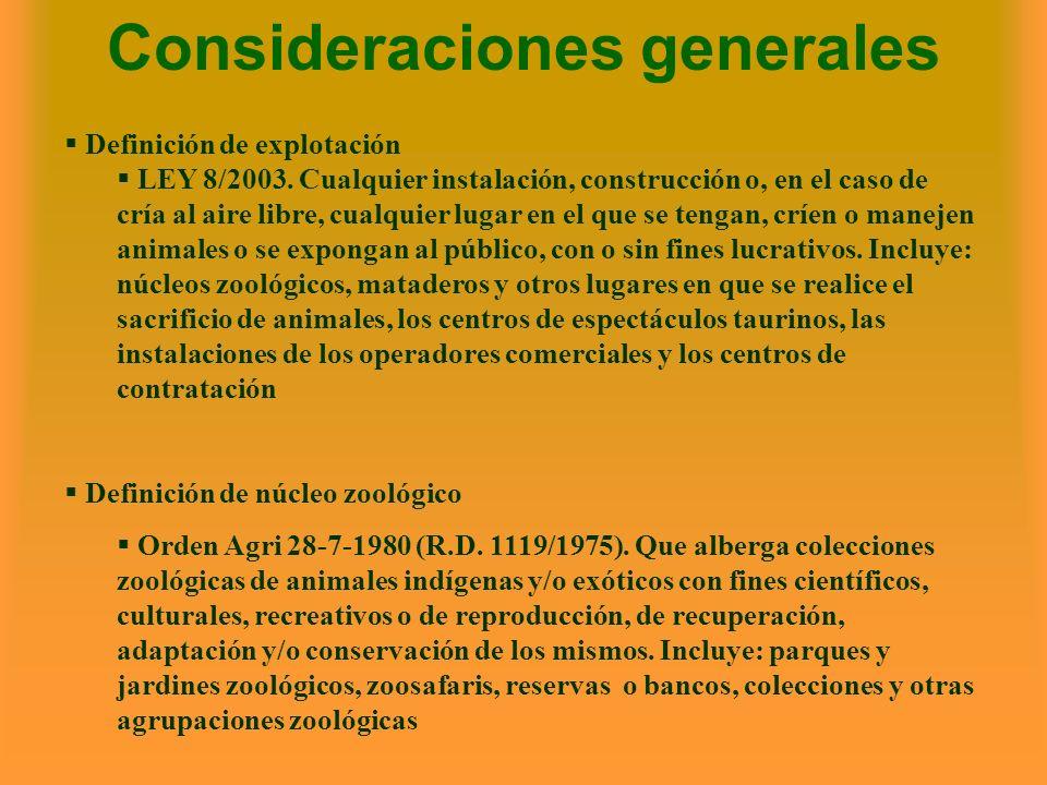 Consideraciones generales Definición de explotación LEY 8/2003. Cualquier instalación, construcción o, en el caso de cría al aire libre, cualquier lug