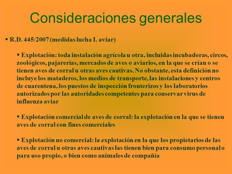 Consideraciones generales R.D. 445/2007 (medidas lucha I. aviar) Explotación: toda instalación agrícola u otra, incluidas incubadoras, circos, zoológi
