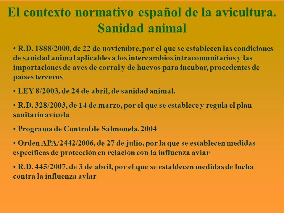El contexto normativo español de la avicultura. Sanidad animal R.D. 1888/2000, de 22 de noviembre, por el que se establecen las condiciones de sanidad