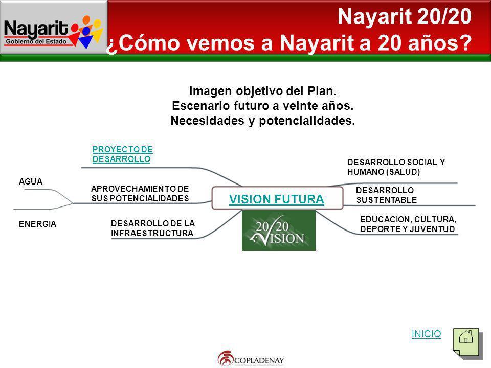 Nayarit 20/20 ¿Cómo vemos a Nayarit a 20 años? VISION FUTURA PROYECTO DE DESARROLLO APROVECHAMIENTO DE SUS POTENCIALIDADES DESARROLLO DE LA INFRAESTRU