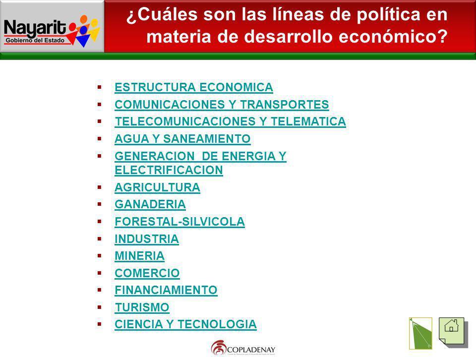 ¿Cuáles son las líneas de política en materia de desarrollo económico? ESTRUCTURA ECONOMICA COMUNICACIONES Y TRANSPORTES TELECOMUNICACIONES Y TELEMATI