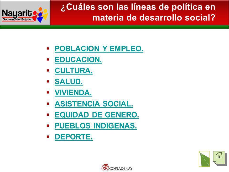 ¿Cuáles son las líneas de política en materia de desarrollo social? POBLACION Y EMPLEO. EDUCACION. CULTURA. SALUD. VIVIENDA. ASISTENCIA SOCIAL. EQUIDA
