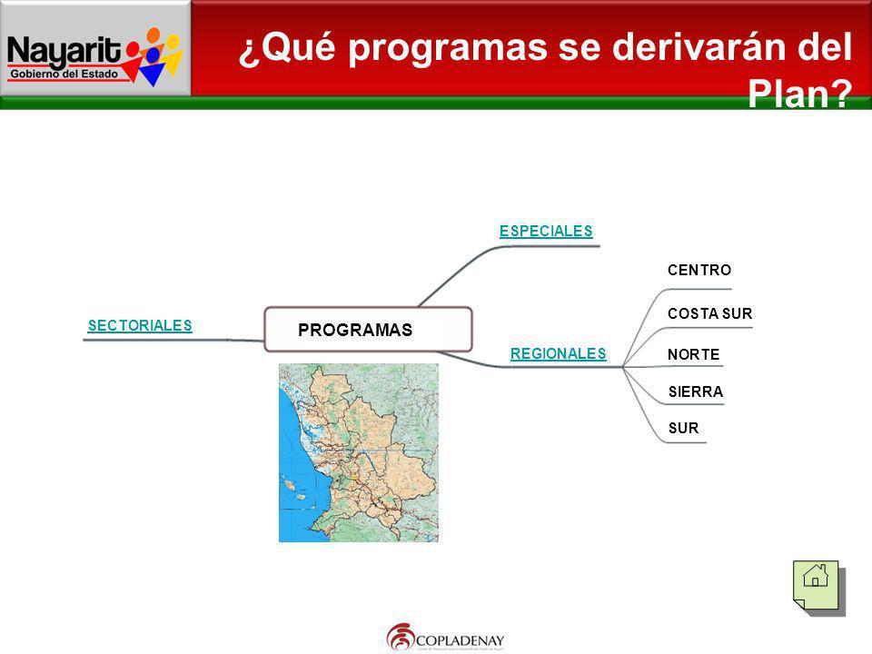 ¿Qué programas se derivarán del Plan? PROGRAMAS SECTORIALES ESPECIALES REGIONALES CENTRO COSTA SUR NORTE SIERRA SUR