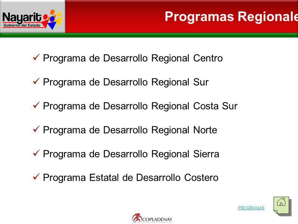 Programa de Desarrollo Regional Centro Programa de Desarrollo Regional Sur Programa de Desarrollo Regional Costa Sur Programa de Desarrollo Regional N