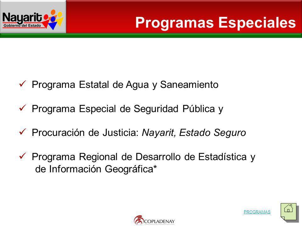 Programa Estatal de Agua y Saneamiento Programa Especial de Seguridad Pública y Procuración de Justicia: Nayarit, Estado Seguro Programa Regional de D