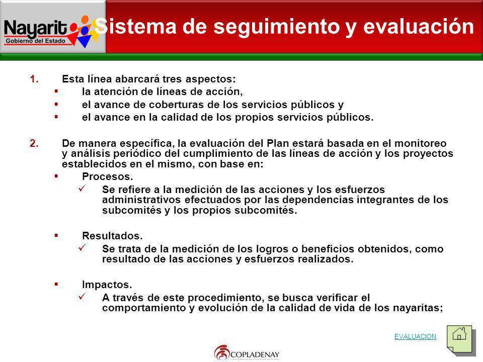 Sistema de seguimiento y evaluación 1.Esta línea abarcará tres aspectos: la atención de líneas de acción, el avance de coberturas de los servicios púb